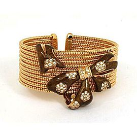 Alessandro Fanfani Diamonds & Enamel 18k Rose Gold Bow Design Wide Cuff Bracelet