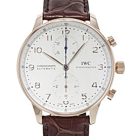 IWC Portuguese Chronograph 18K Rose Gold Silver Dial Mens Watch IW371480