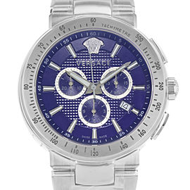 Versace Mystique Tachymeter Chrono Steel Blue Dial Quartz Mens Watch VFG120015