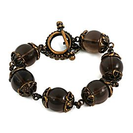 Stephen Dweck Smoky Quartz Large Beads Brass Floral Link Toggle Clasp Bracelet