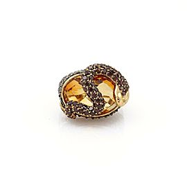 14k Yellow Gold 3.50ct Champagne Diamond Garnet Topaz Snake Ring