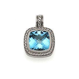 David Yurman Albion Diamond Blue Topaz Sterling Silver Cable Pendant
