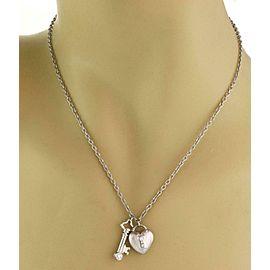Tiffany & Co. Diamond Platinum Heart Padlock & Key Pendant Necklace
