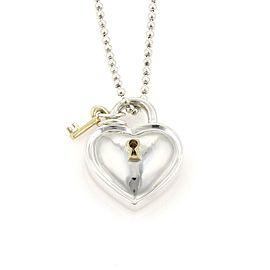 "64352 Tiffany & Co. 925 Silver 18k Gold Heart Padlock Key Pendant Necklace 34"" L"