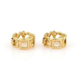 64221 Chanel Yellow Gold 18k Geometric Shapes 10mm Wide Clip On Hoop Earrings