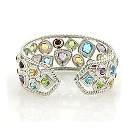 Estate Wide Sophia 18.75ct Diamonds & Multi-Gems 18k White Gold Cuff Bracelet