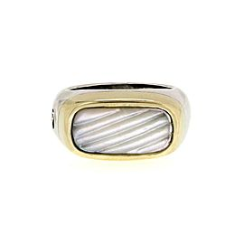 David Yurman Mother of Pearl 925 Silver 14k Gold Rectangular Ring Size 6