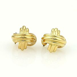 Tiffany & Co. 18K Yellow Gold Signature X Post Clip On Earrings 16mm