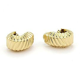 Tiffany & Co. 18k Yellow Gold Fancy Ribbed Design Post Clip Huggie Earrings