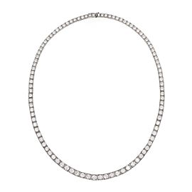 Vintage 13 Carats Diamond Platinum Graduated Square Link Tennis Necklace