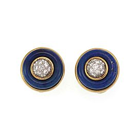 Tiffany & Co Vintage Diamond Lapis 18k Yellow Gold Button Clip On Earrings