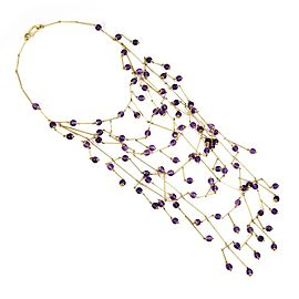 Gucci Italy Amethyst 18k Yellow Gold Festoon Beaded Fancy Drape Necklace