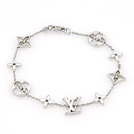 Louis Vuitton 18k White Gold Monogram Charms Chain Bracelet