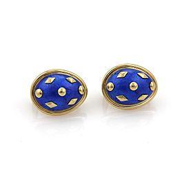 Tiffany & Co. Schlumberger Blue Dot Lozenge Enamel Post Clip Earrings