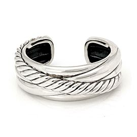 David Yurman Sterling Silver Cable Crossover Wide Cuff Bracelet