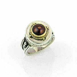 Konstantino Garnet 18k Gold & Sterling Silver Round Top Ring