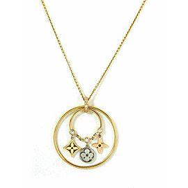Louis Vuitton Idylle Floral Monogram Diamond Dangle Hoop 18k Gold Pendant