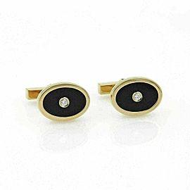 Tiffany & Co. Diamond Onyx Oval Shape 18k Yellow Gold Stud Cufflinks