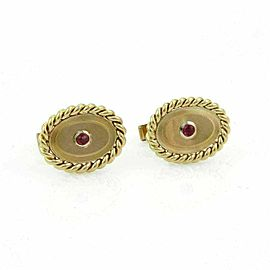 Vintage Tiffany & Co. Pink Tourmaline 18k Yellow Gold Oval Stud Cufflinks