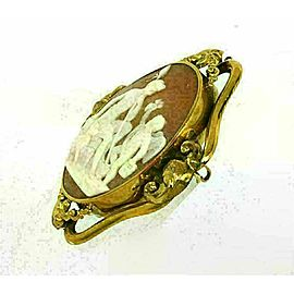 Estate Oval Shell Cameo Mythological 14k Yellow Gold Brooch
