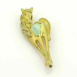 Estate Fire Opal & Diamonds 18k Yellow Gold Horse Pendant Brooch