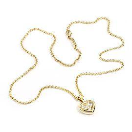 66153 Chopard Happy Diamond 18k Yellow Gold Heart Pendant & Chain