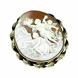 Large Shell Cameo Carved Greek Figures 14k Yellow Gold Brooch