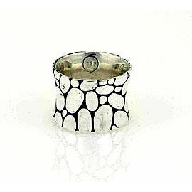 John Hardy Kali Pebble 15mm Wide Sterling Silver Band Ring