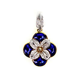 H.Stern Diamond Blue Enamel 18k Two Tone Gold Flower Pendant