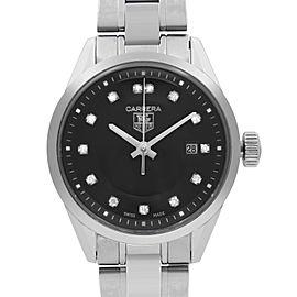 TAG Heuer Carrera Steel Diamonds Black Dial Quartz Ladies Watch WV1410.BA0793