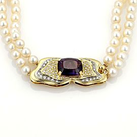 Estate 12.75ct Amethyst & Diamond Saltwater Pearls 18k Gold Choker Necklace