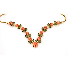 Estate 22k Yellow Gold Coral & Jade Roses & Leaves Necklace