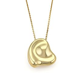 Tiffany & Co Peretti 18k Yellow Gold Large Puffed Curved Heart Pendant Necklace