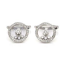 Chopard Happy Diamond 18k White Gold Round Bezel Diamond Stud Cufflinks