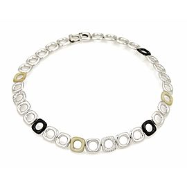 Tiffany & Co. Pave Diamond Ceramic 18k White Gold Fancy Link Necklace