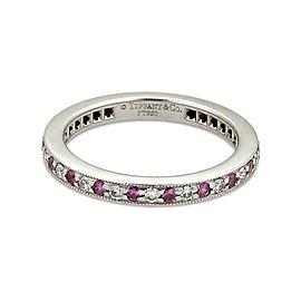 Tiffany & Co. Diamond Pink Sapphire Platinum Milgrain Eternity Band Ring Size 4