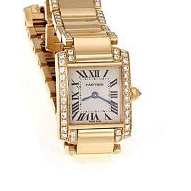 Tank Francaise Diamond 18k Yellow Gold Ladies Watch Factory Diamond Band