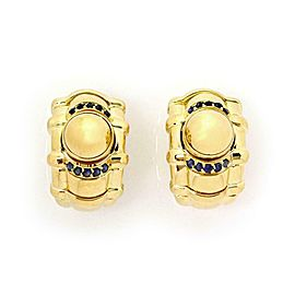 Piaget Sapphire 18k Yellow Gold Movable Ball Dome Post Clip Earrings