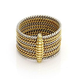 Cartier Vintage 18k Two Tone Slim Multi Wire Stack Ring/Pendant Size 3.75