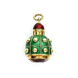 Estate 18k Yellow Gold Madeira Citrine & Enamel Fob Pendant/Charm