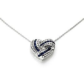Charles Krypell 1.65ct Diamond Sapphire 18k Gold Locket Heart Pendant Chain