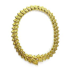 Judith Leiber 1.30ct Diamond 18k Yellow Gold All Around Fish Link Necklace