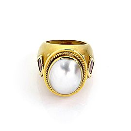 Estate Mabe Pearl & Tourmaline 18k Yellow Gold Dome Band Ring Size 5.5