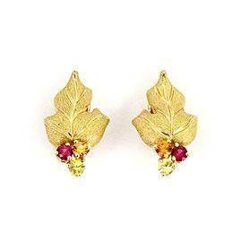 Tiffany & Co. Multicolor Garnets 18k Yellow Gold Leaf Huggie Earrings