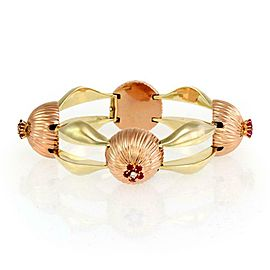 Rare Retro 2.20ct Diamond Ruby 14k Rose & Yellow Gold Dome Fancy Link Bracelet