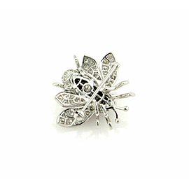 Diamond Onyx Bumble Bee 18k White Gold Brooch Pin