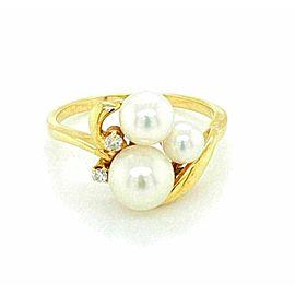 Mikimoto Akoya Pearls Diamond 18k Yellow Gold Ring