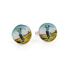 Tiffany & Co. Enamel Sterling Silver Round Golfer Stud Cufflinks