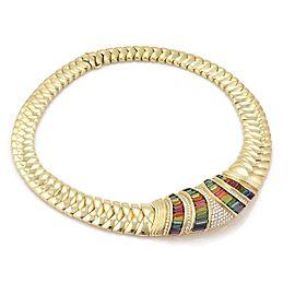 H.Stern 16.70ct Diamond Rainbow Tourmaline 18k Yellow Gold Collar Necklace