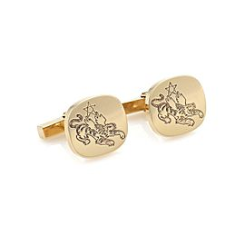 Tiffany & Co. Vintage 14k Yellow Gold Carved Tiger Oval Button Cufflinks